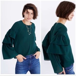 NEW Madewell Size XS Ruffle Sleeve Silk Top